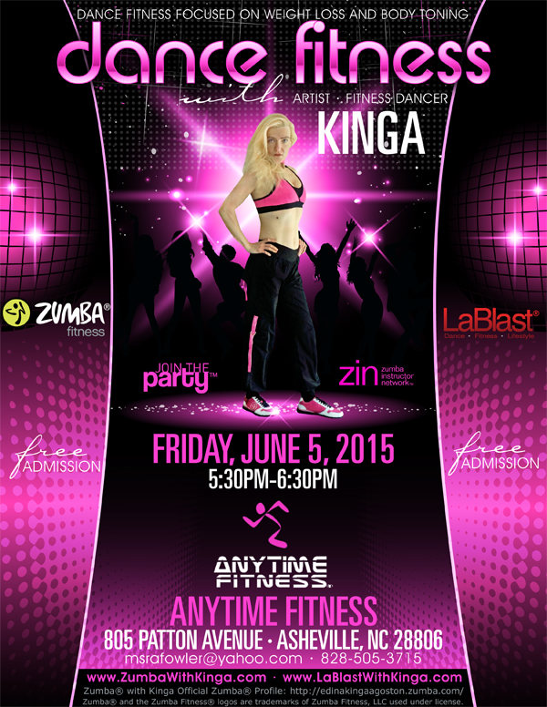 Dance Fitness with Kinga Zumba and LaBlast at Anytime Fitness Asheville North Carolina