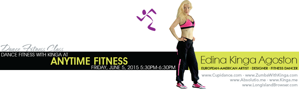 Dance Fitness Class with European-American Artist/Fitness Dancer KINGA at Anytime Fitness Gym in Asheville, North Carolina.