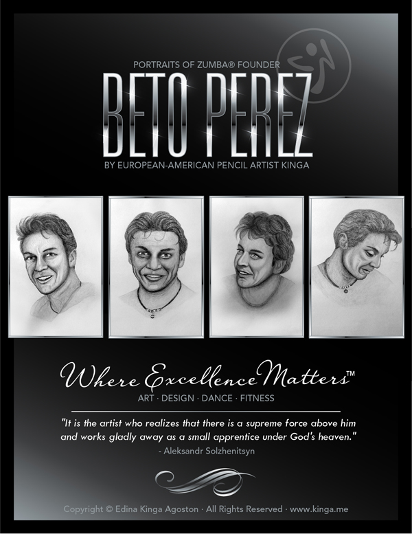 Beto Perez, Zumba Founder  by European-American Pencil Portrait Artist Kinga